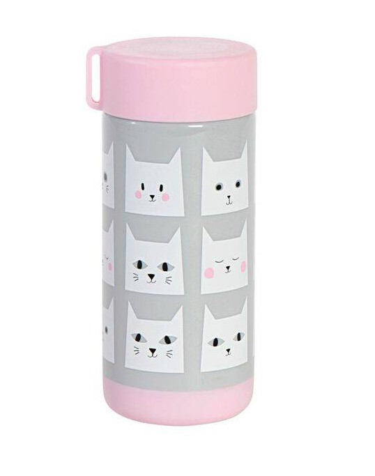 Kinder Trinkflasche Kitty Cats rosa-grau