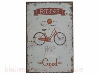 Chic Antique Metallschild Riding